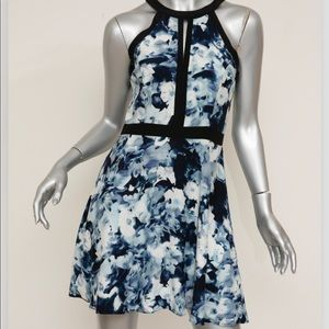 Parker Nika Blue/Black Floral Silk Dress